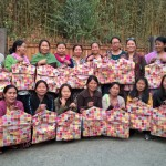 The end result of Malou's teaching tribal women how to make peg bags in Shillong, Meghalaya, India