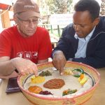 A classic Ethiopian dish eaten with hands and shared from a common plate
